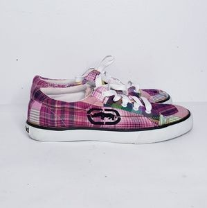 Red Marc Ecko plaid sneakers size 7